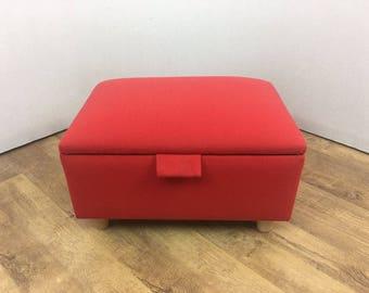 Red Linen Footstool/Storage Box/Pouffe