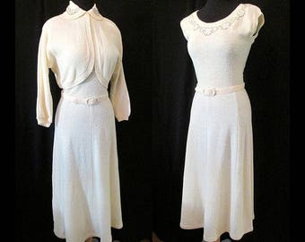"Dreamy 1940's Two Piece Knit Dress with Beading and Matching Belt by ""lass o'Scotland"" for Flair Knit Size Medium"