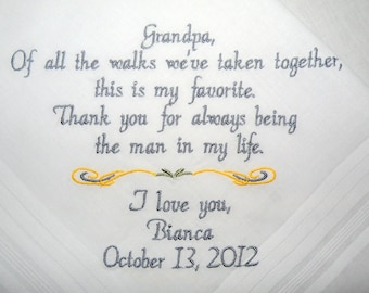 Grandpa Wedding Hankerchief Personalized Hankie by Canyon Embroidery