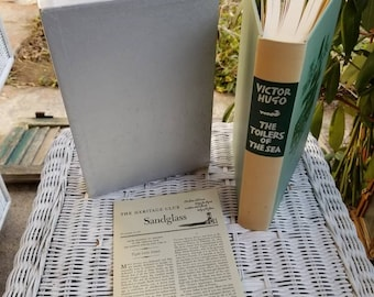 The Toilers of The Sea by Victor Hugo, Vintage Hardcover Book with Slipcase, The Heritage Press 1961, Victorian, Classic Sea Novel