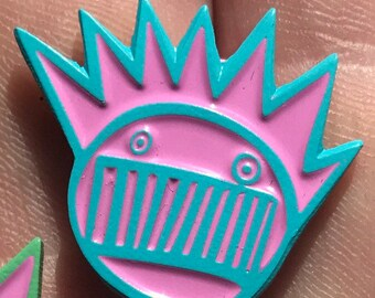 "1""GWS Boognish pin Aqua blue and pink"