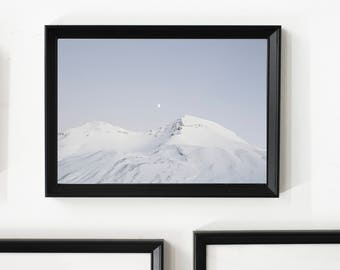 A Moon & A Mountain/ Home Decor/ Gift/ Travel /Print / Wall Art / Unique/ Adventure/ Wanderlust /Mountain /Fine Art/ Moon/ Iceland