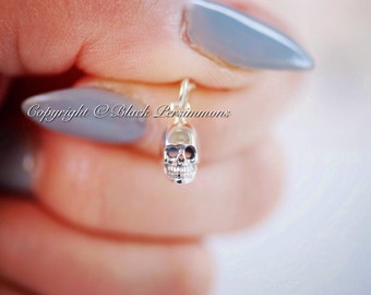 Tiny Skull Necklace - Solid 925 Sterling Silver Charm - Insurance Included