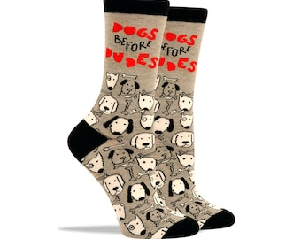 Dogs Before Dudes Patches and Pins Women Socks