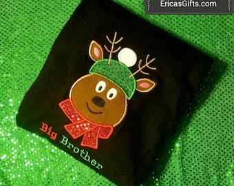 Reindeer Embroidered Top Personalized Christmas Shirt or Onesie
