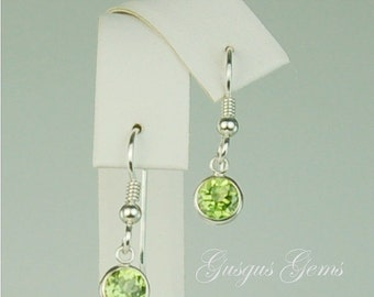 Peridot Sterling Silver Dangle Earrings 6mm 2ctw Natural Untreated