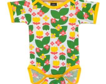 Handmade / Bodysuit / baby clothes - Tulip Toss