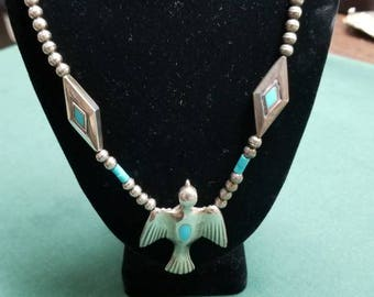 Sterling and turquoise flying bird necklace