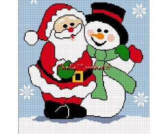 INSTANT DOWNLOAD Chella Crochet Christmas Santa Claus Frosty the Snowman Afghan Crochet Pattern Graph Chart .PDF