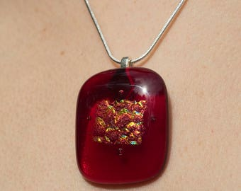 red dichroic glass pendant