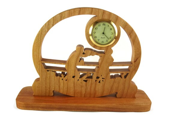 Boxer Boxing Themed Desk Or Shelf Clock Cut By Hand From Cherry Wood By KevsKrafts