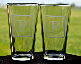 Set of Monogrammed Square Etched Pint or Rocks Glasses using Sandcarving by Jackglass  on Etsy.com