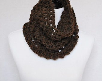 Brown Mesh Crochet Cowl, Dark Brown  Neck Warmer, Chocolate Brown Short Infinity Scarf