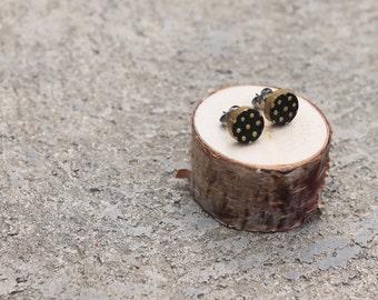 Black and Gold Polka Dot Geometric Wood Earrings // Gold Earrings // Wood Earrings // Circle Earrings // Hand-Painted Polka-Dots