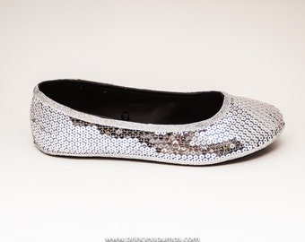 Sequin | Sterling Silver Ballet Flat Slippers Dress Casual Shoes