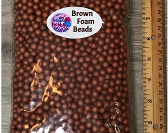 Brown Foam Beads for Slime Making Styrofoam Floam- 5 Cups in Each Bag - NEW ITEM!