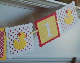 Rubber Duck I am 1 Banner, Duck 1st Birthday, Decorations, Rubber Duck Party, Red Yellow