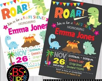 Dinosaur Girl Baby Shower Invitation Girl Dinosaur Graphic