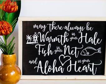 Hawaiian Blessing Sign - Housewarming Gift - Hawaiian Art - Wood Sign