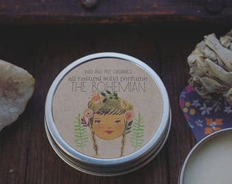 THE BOHEMIAN all natural solid perfume with amber, sandalwood and frankincense & myrrh. 1 oz.