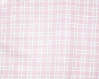 Coral and White Plaid Fabric