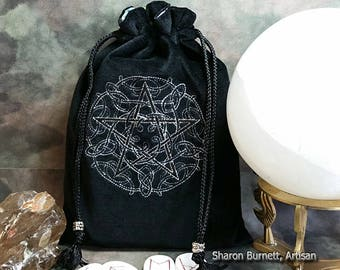 CLEARANCE ITEM Celtic Knotwork Silver Metallic Pentagram Embroidered Cotton Velvet Drawstring Tarot Pouch Tarot Bag Rune Bag Jewelry Pouch