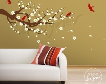Removable Vinyl wall sticker decal Art-Season of Cherry Blossom branch in  3 color - (LARGE) - dd1013