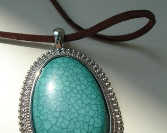 Fake Turquoise pendant necklace with brown suede cord