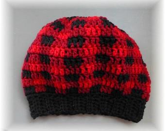 Plaid Slouchy Hat Red Black Burgundy Roomy Unisex Adult Teen