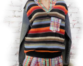 upcycled sweater jacket - OOAK sweater - upcycled sweater top -  restyled sweater ,OOAK clothing  - unique sweater jacket - size Large # 2