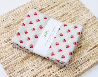 Large Cloth Napkins - Set of 4 - (N4533) - Little Strawberries Gray Modern Reusable Fabric Napkins
