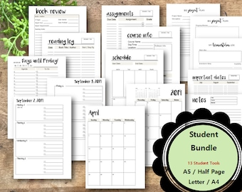 STUDENT Planner Printable Bundle, Remaining 2018 & 2018-2019 School Year, A5, Half Page,  Student Planner, College Planner, Planner Inserts