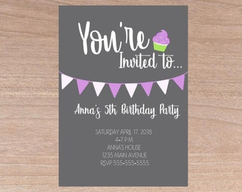 Cupcake Birthday invitation girl, Invitation, Girl, Birthday Invitations, Birthday Invitations for girl, Invitation Girl, Girls Invitation