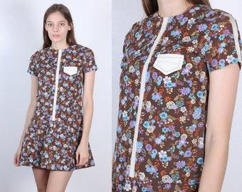60s Drop Waist Dress // Vintage Mod Floral Pleated Skirt Mini Dress - Extra Small XS