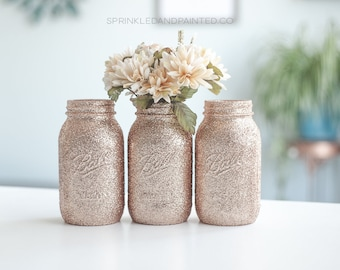 Rose Gold Wedding Decor, Set of 8 Rose Gold Glitter Vases, Rose Gold Decor, Rose Gold Centerpieces,  Bridal Shower, Baby Shower