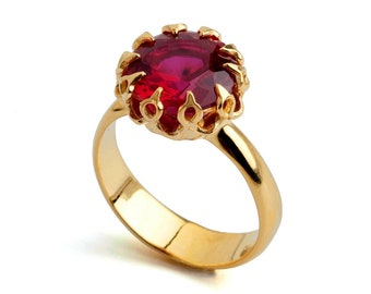 CROWN Gold Ruby Ring, Ruby Engagement Ring, Ruby Promise Ring, Large Ruby Ring, Gold Statement Ring, Ruby Solitaire Ring, Mothers Day Gift
