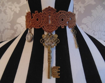 Handmade Brown Embroidered Lace Steampunk Keyhole Choker with Charms