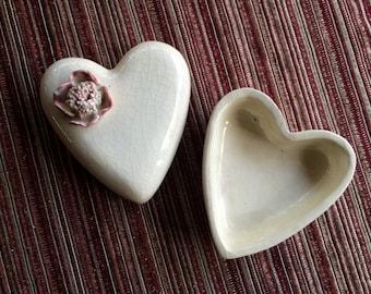 Heart Trinket Dish,Small Heart Dish,Jewelry Dish,Ceramic Trinket Dish,Retro Trinket Dish,Romantic Dish,Heart Flower Dish,Love Gift,Love Dish