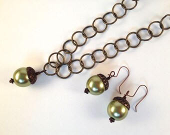 Bronze and Green Acorn Necklace