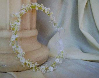First Communion White hair wreath accessories Flower crown little Girl Halo Babys Breath silk Bridal Wedding accessories newborn headband