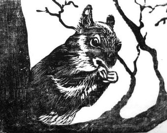 Squirrel Woodblock Print, Handpulled relief printmaking art