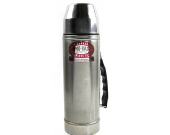 Vintage 1960s Uno-Vac Thermos Stainless Steel Thermos Bottle