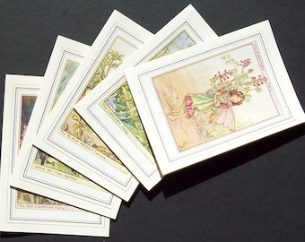 Five  Flower Fairy Cicely Mary Barker blank greetings or note cards (Set 4jul)