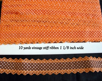 Halloween Ribbon Orange Lace Vintage Trim Stiff 10 yards