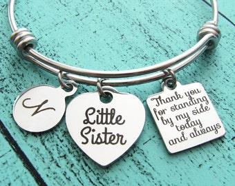 wedding gift for sister, lil little sister of bride gift, bride sister gift bracelet, thank you bridesmaid gift, bridal gift little baby sis