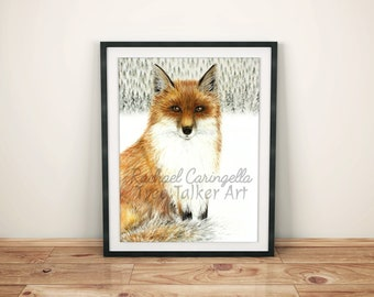 Fox Painting - Fox in the Snow- Fox Art by Rachael Caringella - Large - Red Fox