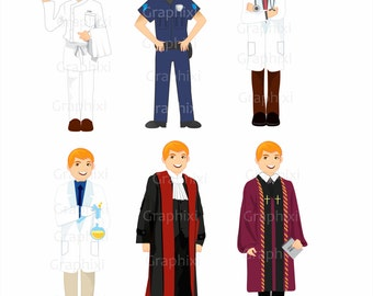 Clipart Professions,policeman,career Vector, digital clip art, digital images,cook, doctor, scientist,cook, clergy, judge, DIGITAL CLIPART
