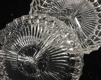 Vintage glass serving dish, glass pickle dish, glass olive dish, divided serving dish