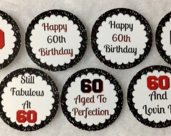 Set of 50/100/150/200 Personalized 60th Birthday Party White & Red 1 Inch Circle Confetti