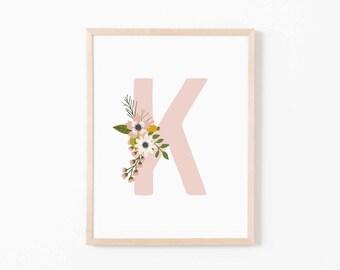 Blush Bloom K Nursery Art. Nursery Wall Art. Nursery Prints. Nursery Decor. Girl Wall Art. Personalized Wall Art. Monogram Art. Floral Art.